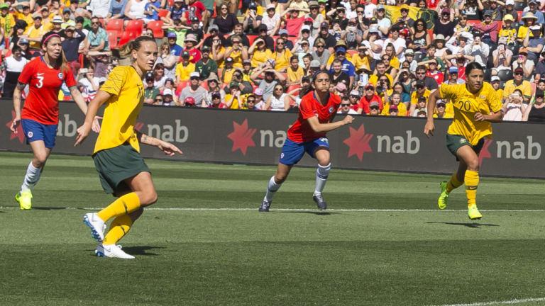 Consolation: Emily van Egmond kicks a late penalty.