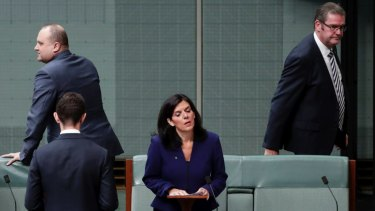 Julia Banks rises to speak to announce her decision to quit the Liberal Party as Coalition MPs leave the chamber.