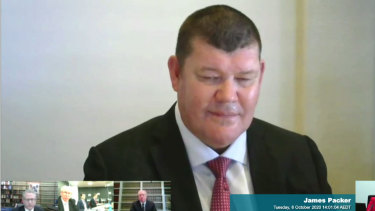 James Packer giving evidence via video link to theNSWIndependent Liquor and Gaming Commissioninquiryinto the casino group.
