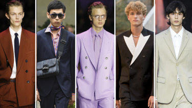 Not dead yet ... new season suits by (from left) Hugo Boss, Etro, Hugo Boss, Soeren Le Schmidt, Louis Vuitton.