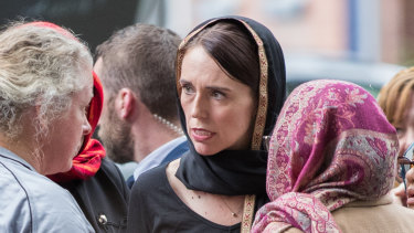 New Zealand Prime Minister Jacinda Adern meets with some of the Muslim community at the Hagley College after the Masjid Al Noor Mosque terror attack.
