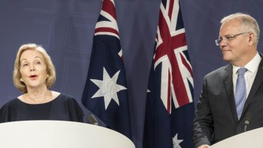 Prime Minister Scott Morrison and ABC chair Ita Buttrose.