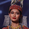 Miss Myanmar Thuzar Wint Lwin appears onstage at Miss Universe 2021 in Hollywood, Florida.