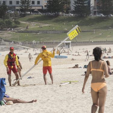 Bondi Beach being closed in Sydney on  March 21.