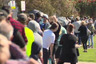 People faced long waits at testing sites in Shepparton on Wednesday.