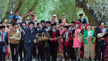 One big happy family: Uighur and other minorities are presented in the musical as fully assimilated and happy.