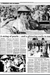 Former Herald reporter Paul Byrne's front page story about Princess Diana and Prince Charles' visit to Sydney during their Australia tour in 1983.