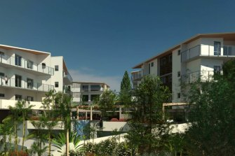 An artist's impression of the view from the western side of the proposed development towards the Underwood Road entry.