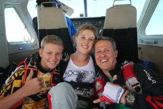 Schumacher with his children Mick and Gina-Maria, in a photo from the documentary.