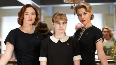 Best actress winner Angourie Rice (centre) with Alison McGirr and Rachael Taylor in Ladies in Black.