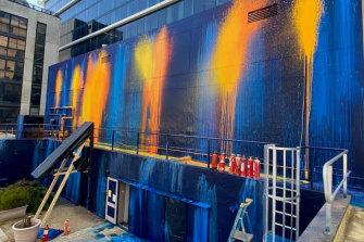 Ash Keating's vast rooftop mural, A New Response, for Melbourne Design Week.