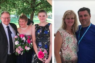 The Dallow family from Adelaide, left, were reported missing on Tuesday. But late Tuesday, Lisa, centre, was reportedly being treated in hospital. The Langford family, right, from North Sydney who are still unaccounted for.