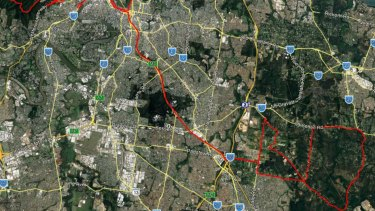 The planned route for the Tour de Brisbane (red) across the city and wider surrounds.