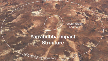 Yarrabubba today. Superimposed on top is the estimated crater. The 'lump' is indicated in the centre.