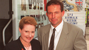 Bronwyn Bishop and Tony Abbott together on the campaign trail.