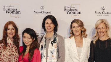 Veuve Clicquot Business Woman of the Year finalists Dr Catriona Wallace, Grace Wong, Emma Welsh, Kate Morris and Kim Jackson.