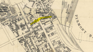 A map showing Church Street which no longer exists in in Pyrmont.