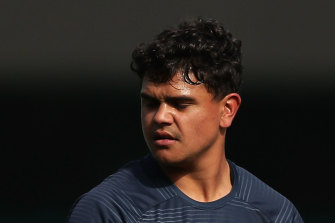 Latrell Mitchell met with Roosters boss Nick Politis on Wednesday