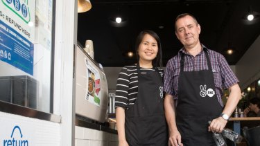 Martin McCleave and Bee Seesong from Two Ones Cafe in Randwick, which was a collection point for the refund scheme.