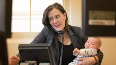 Kelly O'Dwyer at work with son Edward after his birth in 2017.