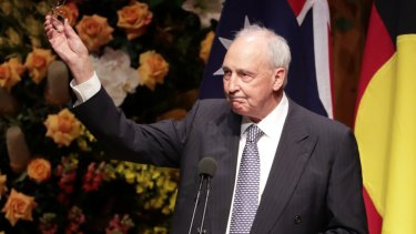 Former prime minister Paul Keating speaks at the state memorial service for Bob Hawke.