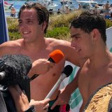 Brothers Nic and Will Rollo were the first duo to cross the line at the Rottnest Swim.