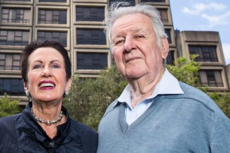 Sydney lord mayor Clover Moore and long time environmental activist Jack Mundey, right.