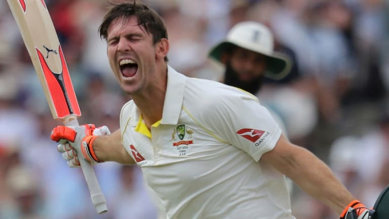 Happier times: Mitchell Marsh starred in the Ashes but has been dumped for the first Test.