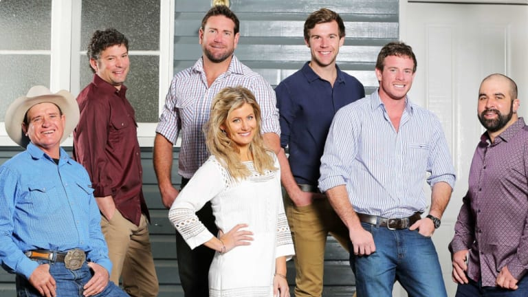 Host Sam McClymont with the cast of Australia's Farmer Wants a Wife in 2016.