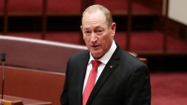 Queensland senator Fraser Anning travelled to the Melbourne rally at taxpayers' expense.