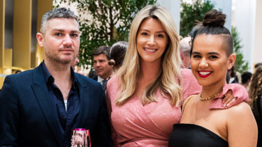 Stylist Dale McKie, Joanna Burgess and Ariana Stephens at The David Jones launch of Level 7.