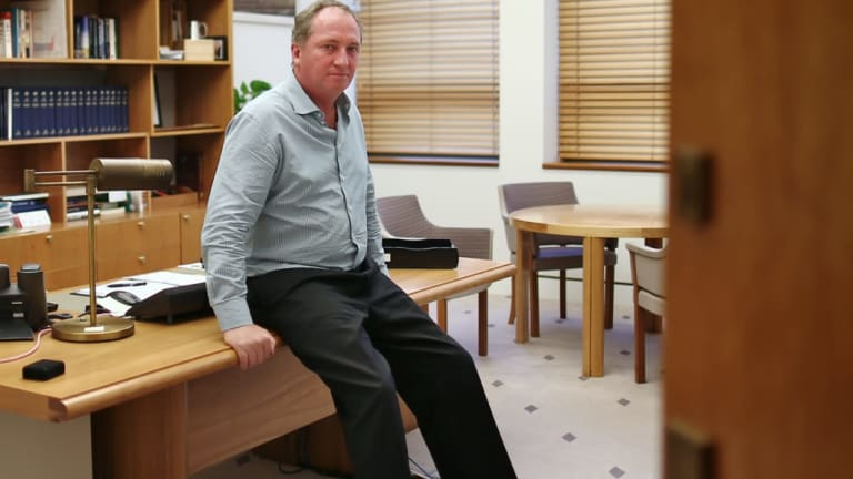 Barnaby Joyce in his office at Parliament House in Canberra.