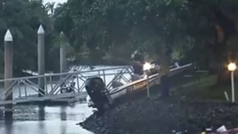 The boat mounted the bank after colliding with the other vessel.