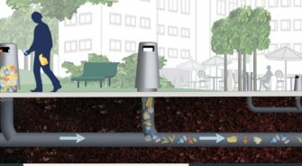 An artist's impression of an underground, vacuum-driven waste collection system being built at Maroochydore.