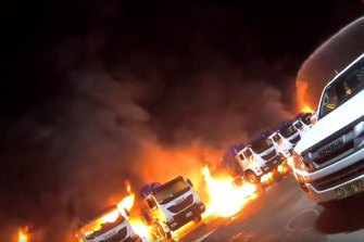 A fleet of garbage trucks went up in flames on Tuesday night.