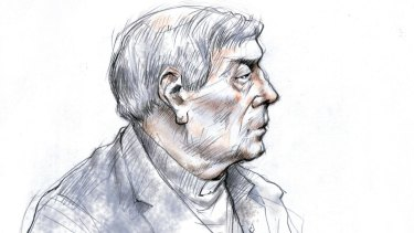 A sketch of Cardinal George Pell in the courtroom.