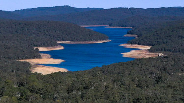 Cordeaux Reservoir, part of Sydney's water catchment, was just 41 per cent full this week. The city's water storages in total are on track to drop below half full in August.