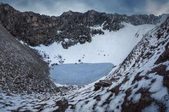 Roopkund Lake, nestled in the Himalayas.