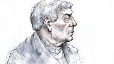 A sketch of Cardinal George Pell in the courtroom during an earlier hearing. On Wednesday he wore an open-necked shirt.
