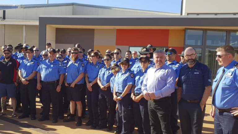 Prison officers striking in Kalgoorlie at the Eastern Goldfields Regional Prison