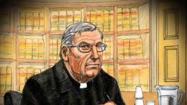 George Pell in court on Wednesday.