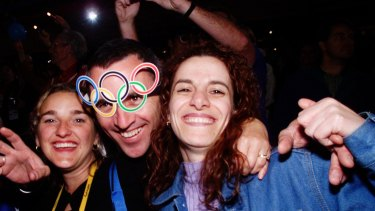 What a party: Sydneysiders during the Closing Ceremony of the 2000 Olympics.