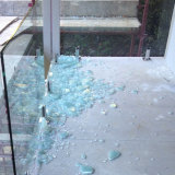 The smashed balcony following a quarry blast.