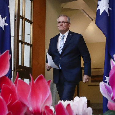 Prime Minister Scott Morrison arrives to announce his new ministry, which rewarded supporters and punished some plotters.