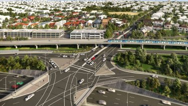 The state government's proposal for Toorak Road sky rail in Kooyong, about a kilometre away from Glenferrie Road.
