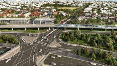The proposed Toorak Road skyrail in Kooyong.