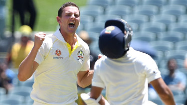 Rueful: Josh Hazlewood dismissed Ajinkya Rahane for 13.