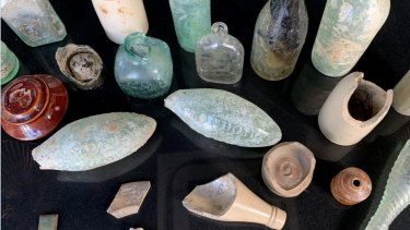 Torpedo bottles were found among about 100 artefacts such as champagne bottles, medicinal containers and terracotta dishes.