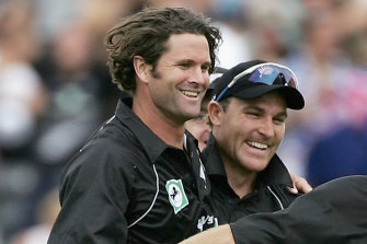 Cairns and McCullum during a one-day clash in Christchurch in 2006.