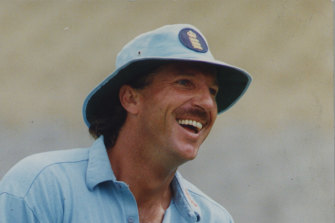 Ian Botham at training in Australia in 1992, when he stormed out of a royal dinner after taking offence at an impersonation of the Queen.